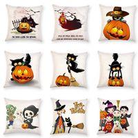 Wholesale Horror Cases - 9 Styles 45*45cm Halloween Horror Pumpkin Pillow Case Cushion Cover Home Sofa Décor Pillow Case Cartoon Ghost Cushion Cover CCA7741 50pcs