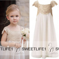 Wholesale Ruffle Empire Waist Wedding Dress - Cap Sleeves Vintage Flower Girls Dresses for Bohemian Wedding Little Kid Cheap Empire Waist Champagne Lace and Ivory First Communion Gowns