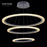 Wholesale 3 Rings Circles Modern LED Pendant Lights adjust length for Dining Room White Acrylic LED Pendant Lamp Contemporary Warmwhite Coldwhite