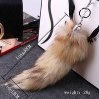 Wholesale Soft Animal Keyrings - Fox Tail keychain plush fur Keyring Tail Rabbit Long 28cm Lucky Charm Faux Fur Cute Soft Fluff Handbag Charms car keychain pendant gifts