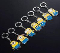 Wholesale Despicable Ring - Movie Cartoon Despicable Me Key Chain Ring Holder Cute Small Minions Figure Keychain Keyring Pendant gift