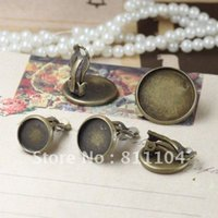 Wholesale Earring Tray Diy - Free Ship 12mm Antique Bronze Copper Circle Blank Tray Base Clip Stud Earrings 4 Diy Resin Cameo CABs Jewelry Settings Wholesale