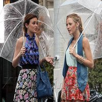 Clear Bubble Umbrella Venta al por mayor Blanks Domo Paraguas Clear PVC Umbrella con color Trim Wedding Bridalmaid Regalo en cinco colores DOM106276