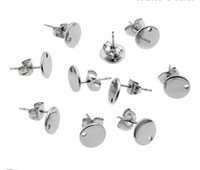Wholesale Earring Findings Round - Lot 30set New Style 10mm Surgical Stainless Steel Round Stud Earrings Finding Supplies w   Stopper Silver DIY Jewelry Finding & Components