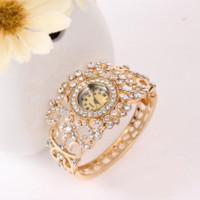 Wholesale Geneva Bangle Watches - Free Shipping GENEVA Bangle Watches 18k Gold Filled Crystal Women's Bracelet flower Dress Quartz Watch Casual Wristwatch