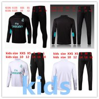 Wholesale Suits Kids Boys White - 2017 2018 Real Madrid Kids Long Sleeve Tracksuit Jogging Boys Soccer kit Football Suits Youth Sport Wear Children Ronaldo training tracksuit