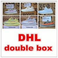 Wholesale Big Women Rubber - DHL double box Season 3 SPLY 350 Boost V2 With Box Best Quality men shoes women running Shoes Sneakers 350 Boost V2 men shoes big size us13