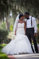 Wholesale Sweetheart Court Train Taffeta Tulle - Sexy Tiered Tulle Skirt Plus Size Mermaid Wedding Dresses for Black Women Sweetheart Crystal African Bridal Gowns