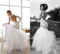 Wholesale Dress Gold Trumpet - 2017 Sexy Backless Lace Appliques Wedding Dresses Long Sleeves Vintage Mermaid Bateau Neckline Wedding Gowns Bridal Gowns with Tieres Skirts