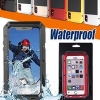 Wholesale iphone case life - Waterproof Case Metal+Silicone Armor Defender Outdoor Shockproof Aluminum Life-Waterproof With Tempered Glass Cover For iPhone X 8 7 plus 6S