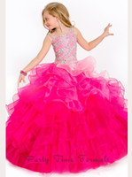 Wholesale Dress Child One Shoulder - 2016 Fuchsia Girls Pageant Dresses One Shoulder Spaghetti with Beads Ruffles Organza Princess Child Pageant Party Gowns PA1525