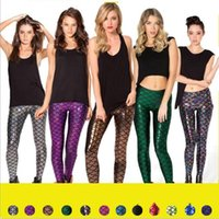 Wholesale Tight Bright - Mermaid Fish Scales Leggings Mermaid Fitness Jeggings High Waist Plus Size Tights Punk Bright Pants Shiny Slim Pencil Pants Trousers B2633