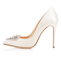 кармен Женщины ручной работы Мода Dristacora 100MM Rhinstone Deco Pointed Toe Party Dress High Heel Pumps Shoes