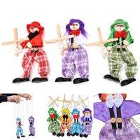 ingrosso bambole di pagliacci-New Handcraft Toy Pull String Puppet Pagliaccio in legno Marionette Giocattoli Joint Activity Doll Vintage Colorful Kids Bambini Regali Craft