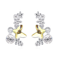 Wholesale butterfly accessories sales online - Summer Sale Design Luxury Noble Austrian Crystal Butterfly Stars Pendant Real Gold Fashion Jewelry Accessories Charm Stud Earrings For Women