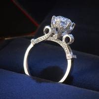 gümüş yüzük 5.5 toptan satış-Boyutu 4-10 Victoria Wieck Lüks Takı Sonsuzluk Kadınlar Yuvarlak 1.5ct Diamonique Cz Elmas 925 ayar Gümüş Düğün Band Taç Yüzük hediye