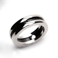 Wholesale Rings 11 Titanium - Fashion Charitable Style Black Ceramic Rings, Platinum Plated Titanium Stainless steel with Red mark Women  Men Jewelry--- Size 5 to 11