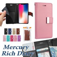 Wholesale Diary Case For Iphone - For Iphone X 8 8 Plus Wallet Case Mercury Rich Diary Case For Iphone 7 Plus PU Leather Case TPU Cover With Card Slot Side Pocket OPP Bag