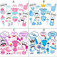 kız duş hediye toptan satış-Fotoğraf Standında Sahne Fotoğraf maske kağıt Kart erkek kız Doğum Günü bebek duş Parti Dekorasyon olay hediye