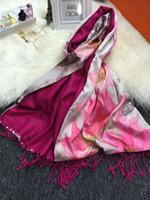 Wholesale Infinity Scarf Soft - Silk Scarf Soft Shawl Spot Wholesale Fashion Lotus Top Grade Designer Scarf Infinity Scarf Beach Dresss Delicate Blossom Women Gift