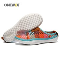 Wholesale Lightweight Women Slippers - ONEMIX Woman Slippers for Womens Weaving Lightweight Breathable Zapatillas Sports Shoe Lovers Orange Loafers Casual Outdoor Walking Sneakers