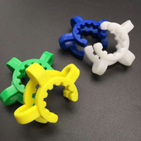 pinzas blancas al por mayor-pinza de plástico keck clip de laboratorio abrazadera 14 mm 19 mm con verde blanco azul amarillo cuatro colores pinza de plástico para adaptador de vidrio