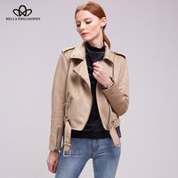 Wholesale Gray Suede Jacket - Wholesale- Bella Philosophy Women 2017 autumn winter coat jacket women zipper turn-down collar faux suede biker jacket coat khaki gray