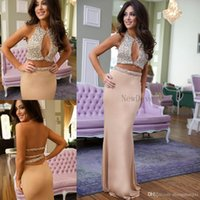 Wholesale Evening Dress Beaded Bust - 2017 2k17 Two Pieces Prom Dresses Sexy Mermaid Crew Keyhole Bust Sparkling Beading Bodice Open Back Party Dress Evening Dresses