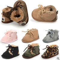 Wholesale Baby Leopard Plush - Newborn plush snow shoes winter new baby girls boys leopard velvet shoes infant lace-up Bows toddler shoes kids warmer first walkers R1218