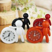 Wholesale Originality Clock - CHEAPEST!!White Black Orange Red Buddy Desk Clock Removable Solid Color Mini Portable Clock Needle Originality Alarm Clock FREE SHIPPING
