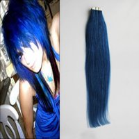 Wholesale tape human hair extensions blue for sale - Group buy Blue tape in human hair extensions Non Remy Brazilian Straight Hair g g g g g Skin Weft human hair bundles