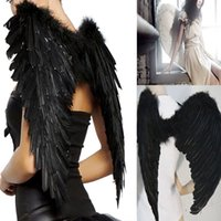 Wholesale Beautiful Princess Costumes - Beautiful and stylish gift Black Feather Wings Sexy Devil Fallen Angel Fairy Halloween Costume Fancy Dress