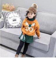 Wholesale Antler Pieces - Children Autumn Winter outfits Girls velvet antlers glasses pullovers+pompon tassel shorts 2pcs sets Kids fashion clothing C2008