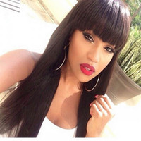 Wholesale Remy Hair Wigs Bangs - Peruvian Virgin Remy Hair Lace Front Wigs, Human Hair Wigs With Bang For Selling, Straight Lace Wigs In Stock