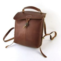 Mulheres Vintage Genuine Backpack de couro genuíno Bolsas de ombro Cross Body Bag Retro School Book Purse Small Fashion Flap Satchel