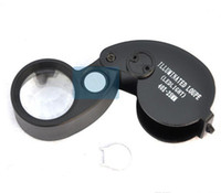Wholesale Led Light Lamp Jewelry - Folding 40X 25mm Glasses Magnifier Jewelry Watch Compact Lupa Led Light Lamp Magnifying Glass Microscope Lupas De Dumento Loupe