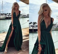 Wholesale Navy Blue Silk Robe - Emerald Green Prom Dresses 2016 Deep V Neck Ruffles A Line Robe De Soiree Sexy Side Split Formal Evening Gowns 2016