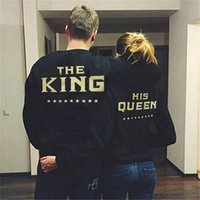 Wholesale Harajuku For Lovers - Wholesale- PADEGAO Couple Sweatshirts Harajuku Fashion Print THE KING HIS QUEEN Lovers Hoodies for Men and Women Jackets Coat LH1065