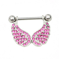 Wholesale D0663 color Nice Wing style NIPPLE ring piercing jewelry Pink color stone drop piercing body jewelry shipping