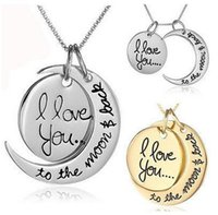 Wholesale Family Circle - DHL Fast Shipping Fashion Necklace Moon Necklace I Love You To The Moon And Back For Mom Sister Family Pendant Link Chain