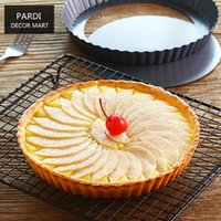 Wholesale 12cm Pan - Wholesale-12cm Drop bottom pie pan Pizza pan baking pan for cakes fruit tart, apple pie 1pc lot