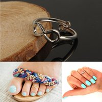 Wholesale New Women Toe Rings Celebrity Vintage Simple Infinity Midi Finger Ring Gold Silver Adjustable Foot Jewelry Beach Retro Style Body Jewellry