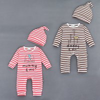 Wholesale Boys Giraffe Set - 2016 Baby Rompers Sets Clothing Boys Girls Cartoon Elephant Giraffe Striped One-piece Rompers + Hats 2pcs Set Children Outfits Clothes