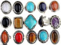 gemischte edelstein-steinringe großhandel-Massen 30pcs mischten Silber P-Imitat-große Edelstein-Türkis-Ring-Großhandelsschmucksache-Lose für Frauen Freies Verschiffen