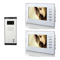 Wholesale Door Monitor Apartment - Apartment Wired 2 Units Wired 7 Inch White Monitor Video Door Phone Audio Visual Intercom Entry Access System V70D-520C-2