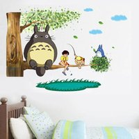 Wholesale Wall Art Kids Playroom - Cartoon Totoro Wall Stickers Removable Art Decal Mural for Kids Boys Girls Bedroom Playroom Nursery Home Decor Birthday Christmas Gifts