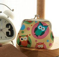 Wholesale Owl Leather Mini Purse Wholesale - 9*7cm owl printing Coin purse key holder wallet hasp small Christmas gifts bag clutch handbag free shipping