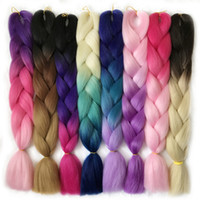 Wholesale Jumbo Braid Hair Colors - VERVES 3 tone ombre braiding hair Kanekalon jumbo braids Fashion synthetic hair extension synthetic braiding hair more colors
