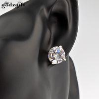 Wholesale Princess Cut Cz Earrings - Godzgift Classic Design Sliver Gold Color Princess-cut Big Square CZ Cubic Zirconia Wedding Stud Earrings for Women JE0030