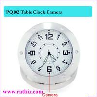 Wholesale Mini Table Clocks - Table Clock style Camera Mini Clock hidden camera Table Desk Spy Clock Camera Steel Vedio Recorder Camcorder Mini DV DVR PQ102